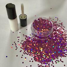 FESTIVAL FACE/BODY/HAIR KIT-4ml GLUE + HOLOGRAPHIC PINK 2mm GLITTER 10g POT