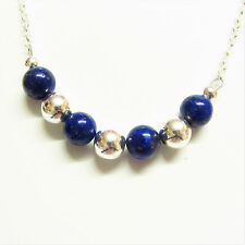 Lapis Lazuli Gemstone Bead Necklace 18 inch with Genuine Sterling Silver Balls