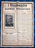 La Une Du Journal L'humanité 1er Août 1914 Jaurès Assassiné