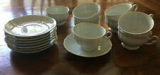Eight-Furstenberg Anna Carina White Tea Cups and Saucers (West Germany)