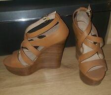 Aldo Tan Wedges Platform Sandals High Heels Cross Detail 3 Brown Wooden Wood NEW