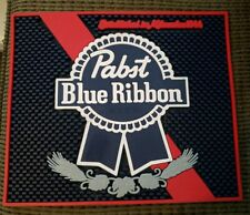 "Rubber Pabst Blue Ribbon Beer Bar Mat Advertising ~12-3/4"" x 10-3/4"" Pbr coaster"