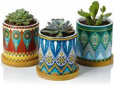 3pcs 3 Inch Mandalas Cylinder Ceramic Planters with Bamboo Trays