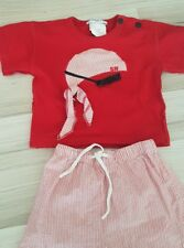 SONIA RYKIEL BEBE Set Pirate T-shirt pantalon d'été printemps Shirt Rouge 12 Mois 86