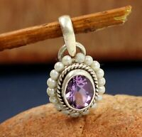 Amethyst Gemstone Daily Wear Gift Pendant Solid 925 Sterling Silver Jewelry