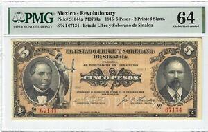 P-S1044a 1915 5 Pesos, Mexico, Revolutionary PMG 64 Nice