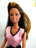 BARBIE DOLL LONG BROWN HAIR PINK HIGH HEELS AND PINK SUMMER DRESS