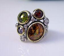 Silver Citrine Garnet Peridot Ring Estate Vintage Unusual Multi Stone Sterling