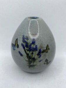 Gray Short Round Bud Vase With Floral And Butterfly Distressed Pattern