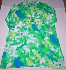 NWT N Natori Blue Sky/Green ARTSY IKAT WATERCOLOUR Caftan/Nightgown S POCKETS