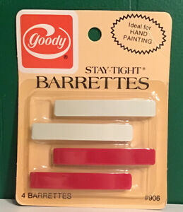 One Pack VTG 1975 Goody Stay Tight Barrettes #906 Sealed NOS USA White Red