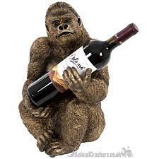 More details for bronze effect gorilla wine bottle holder ornament decoration monkey lover gift