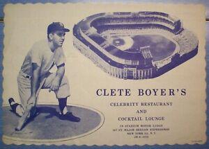 N.Y. Yankees' Clete Boyer's Celebrity Restaurant Placemat