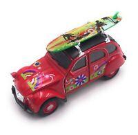 Citroën 2CV Model Car in Red Surfboard Roof Flower Scale 1:3 4 (Licensed)