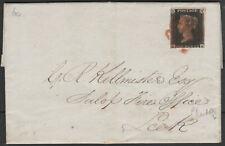 1840 SG2 1d BLACK PLATE 10 RARE RED MALTESE CROSS ON COVER SHREWSBURY LEEK (HE)