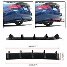 """Personalize Black 23""""x6""""Rear Bumper Lip Diffuser 5 Fin Gloss Black ABS Universal"""