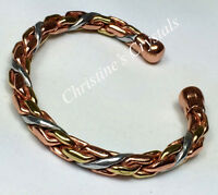MAGNETIC Solid Copper 3 COLOUR ENTWINED Bracelet - Healing Arthritis Relief  M36