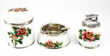3pc. Japanese Porcelain Cloisonne Enamel Smoking Set; Lighter, Ashtray & Holder