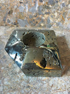 Pyrite Tealight Candle Holder, Polished, For the One you Love, Protection, Reiki