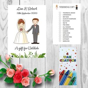 Personalised Childrens Kids Wedding Activity Pack Book Favour Free I Spy AB9
