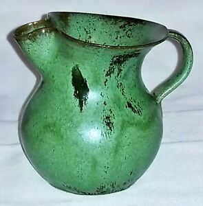 "Art pottery cream PITCHER, North Carolina, hand-thrown, green glaze, c1920,3.75"""