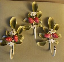 3 Vintage/Antique Metal Wall Hooks, Wrought Iron Strawberies, Shabby Chic