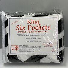 Vintage New Waterbed Sheet Set King Size Percale Black White Zebra Print Cotton