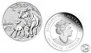 Australien 1 Dollar Lunar III. Ochse 1oz 999 Silber  * St / Bu *