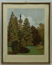 "(H603) Pastell ""Denkmal im Park"" Gerhard BEUTHNER (1887-c.1935) Breslau"
