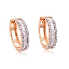 1.60 TCW Natural Baguette Diamond Hoop Earrings 18K Rose Gold Fine Jewelry New
