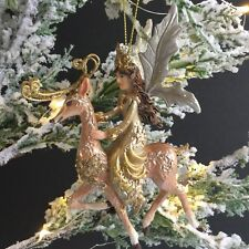 Gold Fairy Queen Riding Reindeer Fantasy Christmas Tree Decoration Gisela Graham