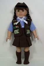 """BROWNIE Scout Uniform Skirt Blouse Cap Doll Clothes For 18"""" American Girl (Debs)"""