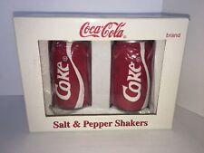 "Vintage Ceramic Coca-Cola Coke Can Salt Pepper Shakers 3"" Tall"