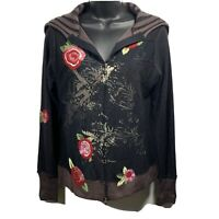 One Girl Who Woman's Zip Up Jacket Top Size Small? Black Embroidery Floral