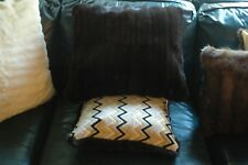AUTHENTIC Recycled Set of Two Black Mink Pillow with Velvet Zig Zag Pattern