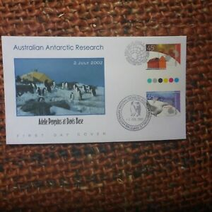 2002 AUST ANTARTIC RESEARCH GUTTER PAIR 2 PMARKS ILLUSTRATED FDC ADELIE PENGUINS