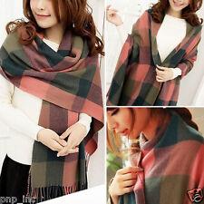 Pink/Green Women's Winter Long Scarf Wrap Blanket Oversized Shawl Plaid Tartan