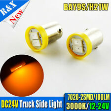 10X H21W BAY9s 433D Xenon LED 2-SMD 7020 Car Side Light Bulbs YELLOW 3000K DC24V
