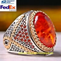 Turkish Handmade 925 Sterling Silver Amber and Citrine Stone Mens Ring All Sizes