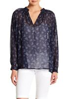 Vince 156356 Women's Calico Silk Floral Blouse Long Sleeve Blue Sz. Small