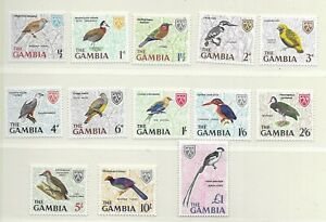 GAMBIA 1966 Birds set of 13 , half'p - £1  MINT NH