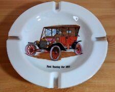 "Vintage Ford Touring  Car 1911 Gold Trim Ceramic Ashtray 8.5"""