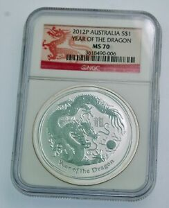 2012-P Australia Lunar Dragon 1 oz .999  Silver bullion NGC MS70-exquisite