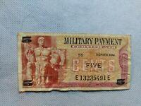 Military Payment Certificate Series 692 5 Cent Replacement Vietnam Era SuperCool
