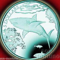 2016 GREAT WHITE SHARK Turquoise TITANIUM Coin BOX+COA British Virgin Islands $5