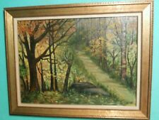 Vintage Oil Painting Canvas Landscape Forest Signed Ginette Size 36 x 26.5 in
