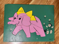 Vintage SIFO Thick Wooden Children's Puzzles Elephant RARE 1950s