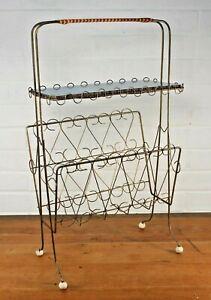 Vintage 1950s Mid Century Tall Brass Wire Magazine Record Rack with Shelf Atomic