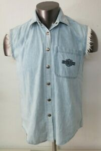 Harley Davidson Blue Sleeveless Snap Button Vest Biker Blues Cut Off Denim M
