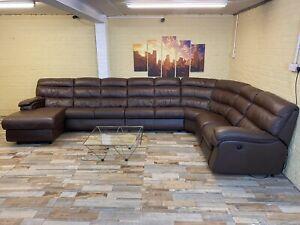 Gigantic Modular Brown Leather Corner Sofa